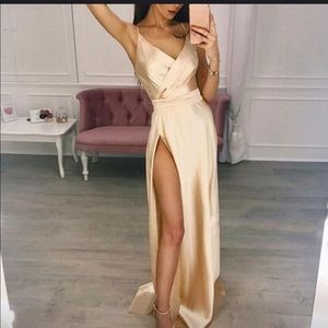 Gold satin dress